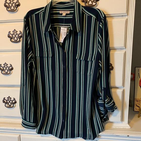 47d84992 Dress Barn Tops   Dressbarn Navy And Green Striped Button Down Shirt ...